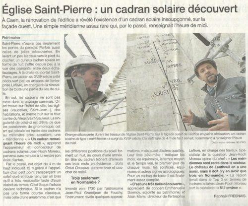 Cadran solaire de l'église saint-Pierre de Caen