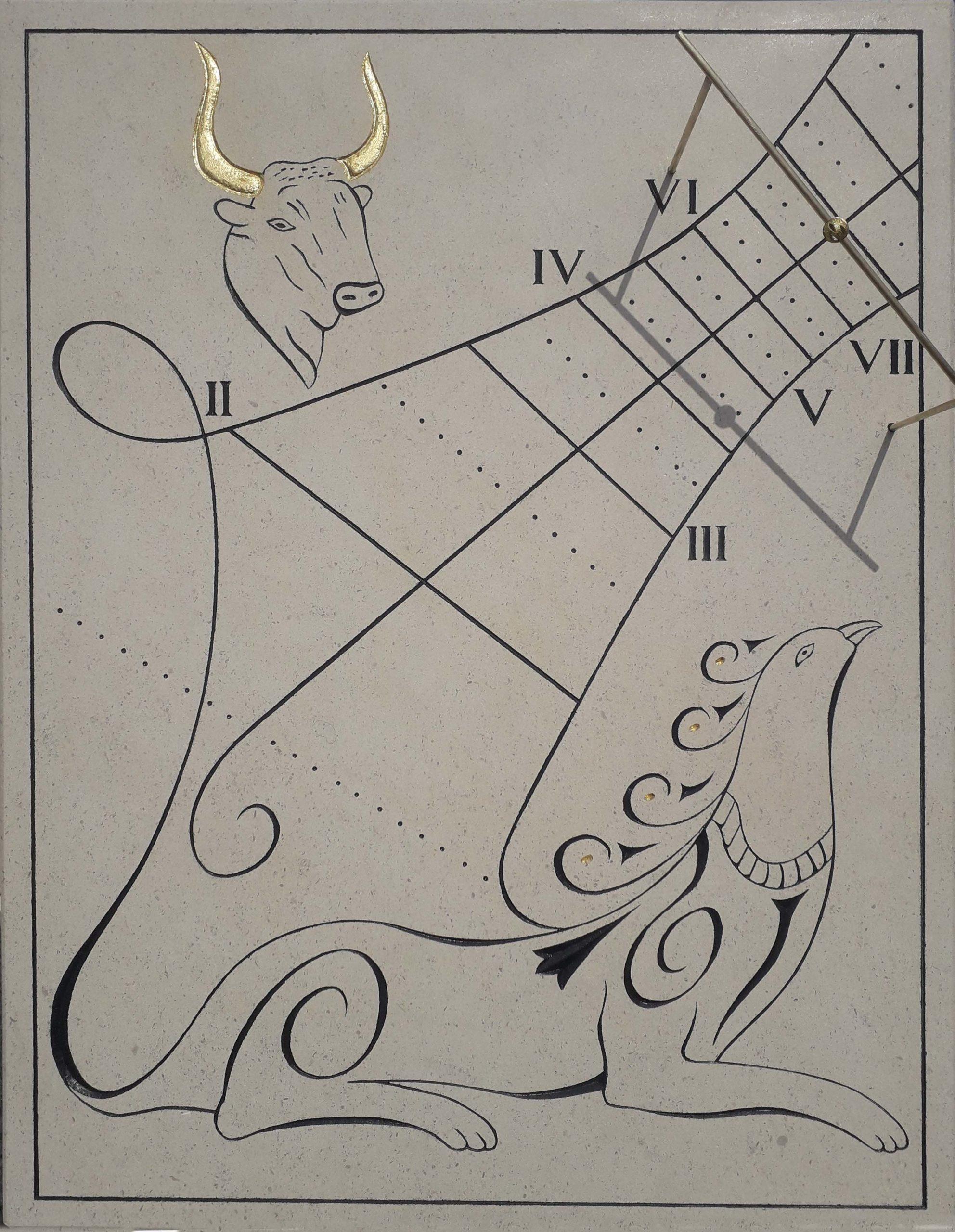Cadran Solaire Taureau / Chimère en pierre de Bourgogne, avec chiffre romains, avec feuille d'or sur les cornes, avec les solstices et équinoxes et avec un style en laiton avec une boule au centre
