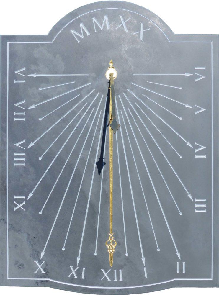 Cadran Solaire en ardoise avec style en forme d'aiguille d'horloge