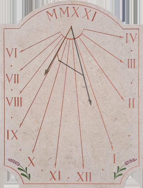 Cadran solaire traditionnel avec décors de lavande